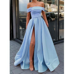 A-Line/Princess Satin Prom Dresses Sexy Sweep Train Off-the-Shoulder Sleeveless