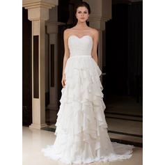 A-Line/Princess Sweetheart Sweep Train Wedding Dresses With Beading Cascading Ruffles (002210501)
