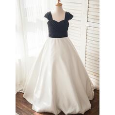A-Line/Princess Floor-length Flower Girl Dress - Chiffon/Satin Sleeveless Straps (010109765)