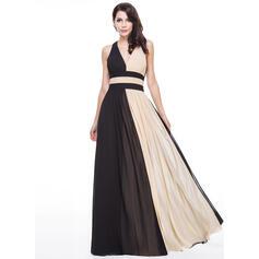 A-Line/Princess V-neck Floor-Length Chiffon Evening Dress With Ruffle (017056130)