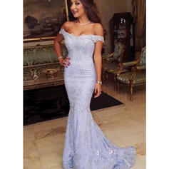 Trumpet/Mermaid Off-the-Shoulder Lace Sleeveless Sweep Train Evening Dresses