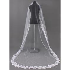 Chapel Bridal Veils Tulle One-tier Oval/Drop Veil With Lace Applique Edge Wedding Veils