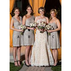 Sleeveless V-neck A-Line/Princess Lace Bridesmaid Dresses