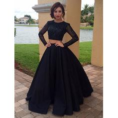 Satin Long Sleeves A-Line/Princess Prom Dresses Scoop Neck Beading Floor-Length