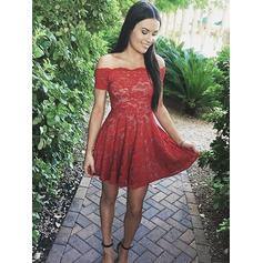 A-Line/Princess Off-the-Shoulder Lace Short Sleeves Short/Mini Ruffle Homecoming Dresses