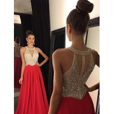 Chiffon Sleeveless A-Line/Princess Prom Dresses Scoop Neck Beading Floor-Length