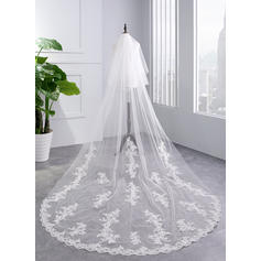 Cathedral Bridal Veils Tulle Two-tier With Lace Applique Edge With Lace Wedding Veils