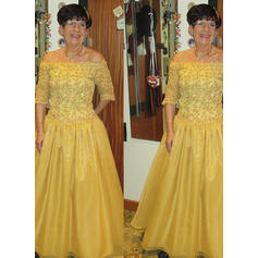A-Line/Princess Off-the-Shoulder Taffeta 1/2 Sleeves Floor-Length Appliques Lace Sequins Mother of the Bride Dresses