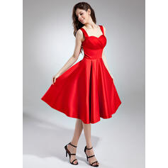 A-Line Sweetheart Knee-Length Satin Bridesmaid Dress With Ruffle (007037402)