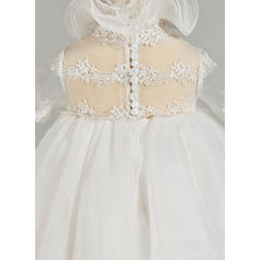A-Line/Princess High Neck Ankle-length Tulle Christening Gowns With Lace (2001217437)