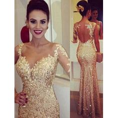 Newest Trumpet/Mermaid Scoop Neck Sequined Prom Dresses