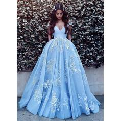 Sweetheart Prom Dresses Ball-Gown Sweep Train Off-the-Shoulder Sleeveless