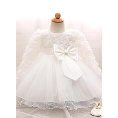 Tulle Col rond À ruban(s) Robes de baptême bébé fille avec Manches longues