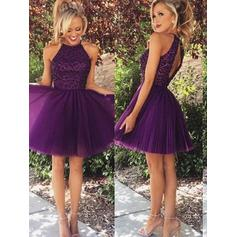 A-Line/Princess Scoop Neck Tulle Sleeveless Short/Mini Beading Evening Dresses