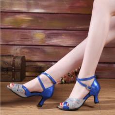 De mujer Danza latina Tacones Cuero Brillo Chispeante con Hebilla Zapatos de danza