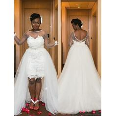 Lace A-Line/Princess With Tulle Wedding Dresses