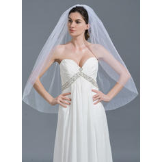 Fingertip Bridal Veils Tulle One-tier Classic With Beaded Edge Wedding Veils