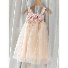 Beautiful Knee-length Empire/A-Line/Princess Flower Girl Dresses Square Neckline Chiffon/Tulle Sleeveless