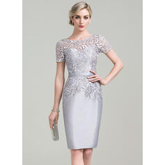 Sheath/Column Scoop Neck Knee-Length Taffeta Lace Cocktail Dress (016096566)