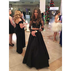 A-Line/Princess Floor-Length Prom Dresses Scoop Neck Satin Long Sleeves (018146008)