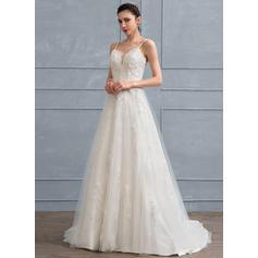 Cuentas Flores Lentejuelas Corte A/Princesa - Tul Encaje Vestidos de novia (002111944)