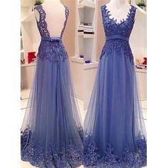 Tulle V-neck A-Line/Princess Beautiful Prom Dresses