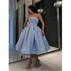 Ball-Gown Tea-Length Satin Strapless Homecoming Dresses (022219318)