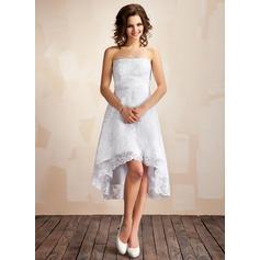 A-Line/Princess Strapless Asymmetrical Lace Wedding Dress