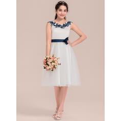 Forme Princesse Longueur genou Robes à Fleurs pour Filles - Satiné/Tulle Sans manches Col rond avec Fleur(s) (010144531)
