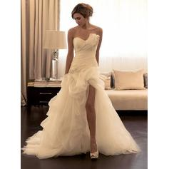 Newest Court Train Sheath/Column Wedding Dresses Sweetheart Tulle Sleeveless