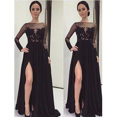 A-Line/Princess Chiffon Long Sleeves Floor-Length Lace Evening Dresses