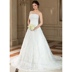 Gorgeous Chapel Train A-Line/Princess Wedding Dresses Strapless Satin Lace Sleeveless