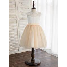Corte A/Princesa Hasta la rodilla Vestidos de Niña Florista - Tul/Encaje Sin mangas Escote redondo (010148814)