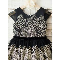 Corte A/Princesa Hasta la rodilla Vestidos de Niña Florista - Tul/Encaje Sin mangas Escote redondo (010144177)