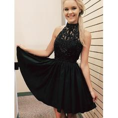 A-Line/Princess High Neck Short/Mini Chiffon Homecoming Dresses With Beading