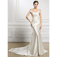 Trumpet/Mermaid Off-the-Shoulder Court Train Satin Wedding Dress With Ruffle Lace Beading Sequins (002056987)