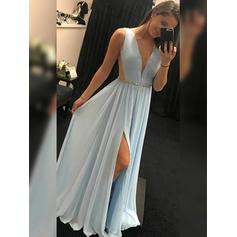 A-Line/Princess V-neck Floor-Length Prom Dresses With Ruffle Beading Split Front (018219252)