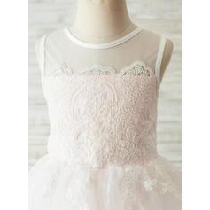 Vestidos princesa/ Formato A Coquetel Vestidos de Menina das Flores - Cetim/Tule/Renda Sem magas Decote redondo com V volta (010144175)