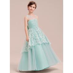 Vestidos princesa/ Formato A Longos Vestidos de Menina das Flores - Tule/Renda Sem magas Decote redondo com Curvado (010141188)