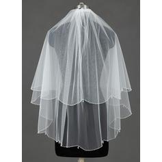 Fingertip Bridal Veils Tulle Two-tier Cascade With Beaded Edge Wedding Veils