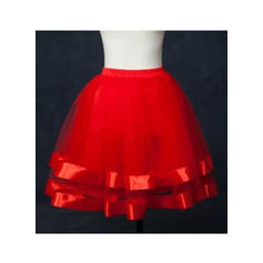 Bustle Short-length Tulle Netting/Satin Ball Gown Slip 2 Tiers Petticoats