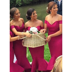 Trumpet/Mermaid Satin Bridesmaid Dresses Off-the-Shoulder Sleeveless Ankle-Length
