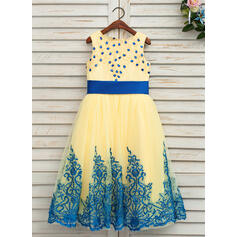 A-Line/Princess Ankle-length Flower Girl Dress - Satin/Tulle/Lace Sleeveless Scoop Neck With Beading/Bow(s) (Undetachable sash)