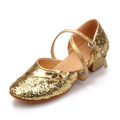 Women's Ballroom Sandals Sparkling Glitter With Buckle Hollow-out Dance Shoes