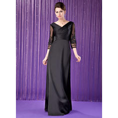 A-Line/Princess V-neck Satin Chiffon Elegant Mother of the Bride Dresses (008211449)