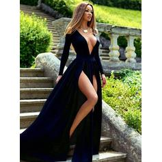 Satin Long Sleeves A-Line/Princess Prom Dresses V-neck Split Front Sweep Train