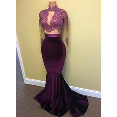 Beautiful High Neck Long Sleeves Trumpet/Mermaid Charmeuse Prom Dresses