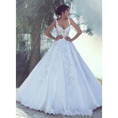 Tulle Sweep Train Appliques With Spaghetti Straps Wedding Dresses