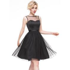 Glamuroso Corte A/Princesa Escote redondo Tul Baile de promoción (016081180)