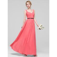 A-Line/Princess Floor-Length Chiffon Bridesmaid Dress With Ruffle Sash (007090155)